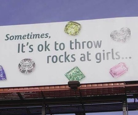 Jewelry store's 'throw rocks at girls' billboard irks locals