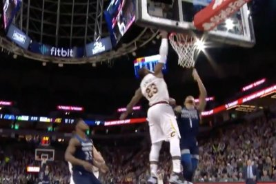 Cavaliers' LeBron James blocks Timberwolves' Tyus Jones into next week
