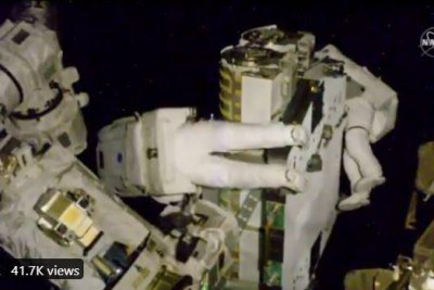 Astronauts install new solar array on 6.5-hour spacewalk