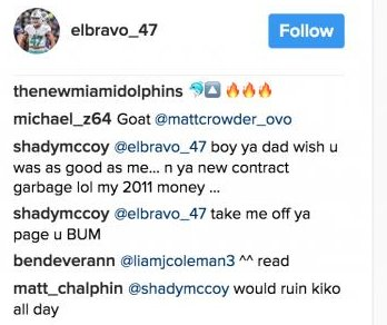 LeSean McCoy calls 'white boy with clear eyes' Kiko Alonso a bum, disses dad