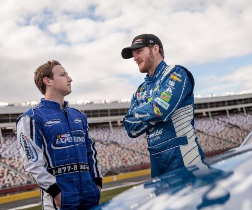 Facebook boss Mark Zuckerberg drives NASCAR with Dale Earnhardt Jr.