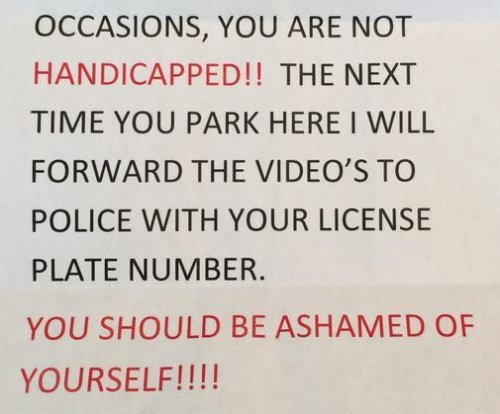 Note: Woman with prosthetic is 'not handicapped' and 'should be ashamed'