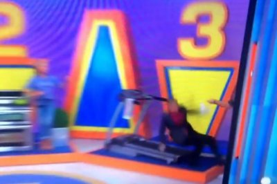 Watch 'Price is Right' announcer George Gray wipe out running backwards on treadmill