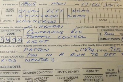 How Much Is A Ticket For Running A Red Light >> Driver Ticketed For Running A Red Was Rushing To Get Nando S