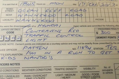 Australian police: Fried chicken run no excuse for running red light