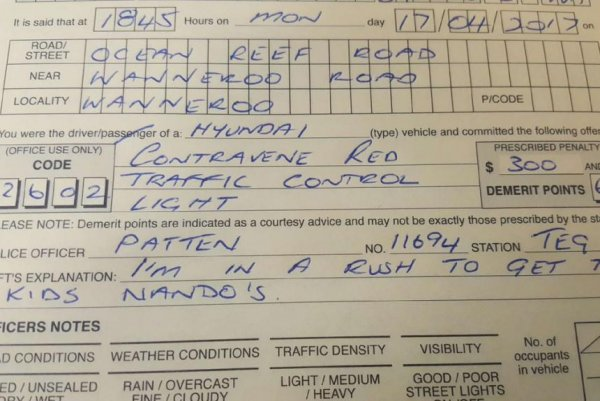 Running A Red Light Ticket >> Australian Police Fried Chicken Run No Excuse For Running Red Light