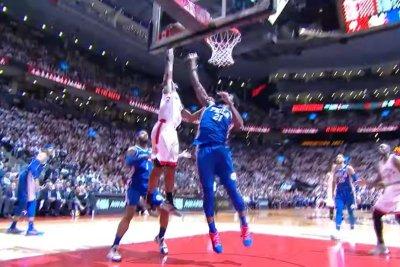 Toronto Raptors' Kawhi Leonard posterizes Philadelphia 76ers' Joel Embiid