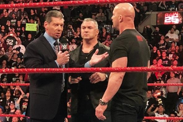WWE Raw 25 Austin Stuns McMahon The Miz Defeats Reigns