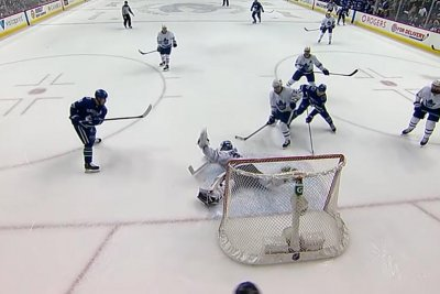 Toronto Maple Leafs' Frederik Andersen robs Bo Horvat at buzzer