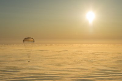 Astronauts land safely in Kazakhstan