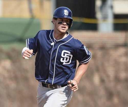 Padres' Wil Myers hits ball twice on one swing for RBI single