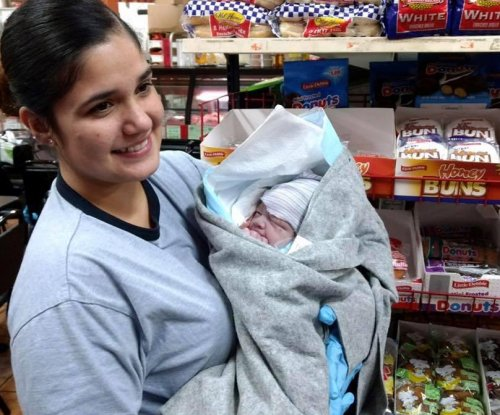 Healthy baby born in the middle of California store