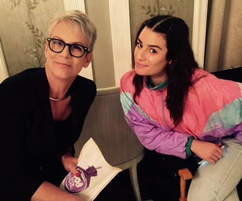 Lea Michele sports toned-down look on 'Scream Queens' set