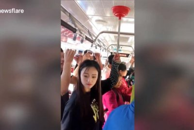 Woman uses plunger to make own bus handle