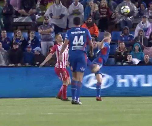 Teenager makes ridiculous scorpion kick for goal in Australian soccer league