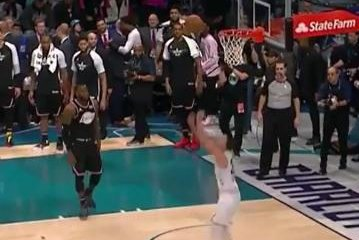 Stephen Curry ends All-Star Game with reverse slam off bounce alley-oop