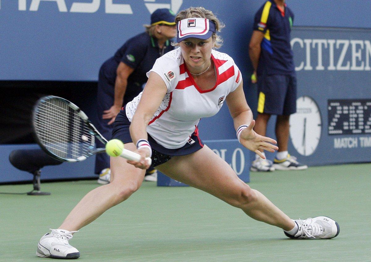 Tennis player Kim Clijsters wel es son Jack UPI