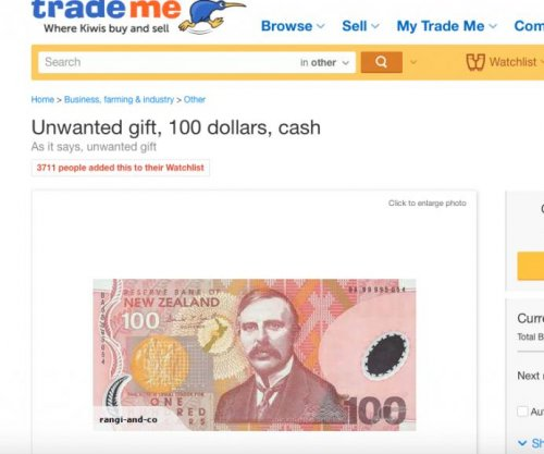 New Zealand auction site removes top bid on 'unwanted' $100 bill