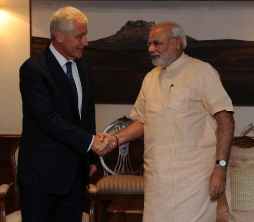 Hagel pushes defense sector relationship with new Indian government