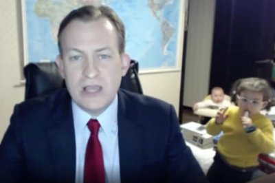 Curious children videobomb father's BBC news interview