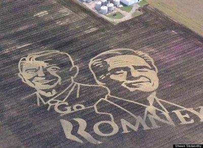 Artist makes Romney ads in corn fields