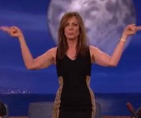 Allison Janney does disco stewardess dance on 'Conan'