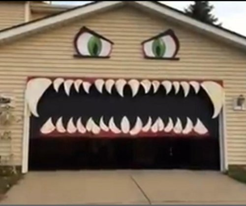Ohio woman's monster-like garage door is a viral Halloween hit