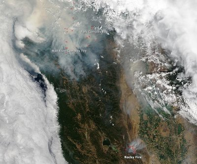NASA image reveals Northern California wildfires