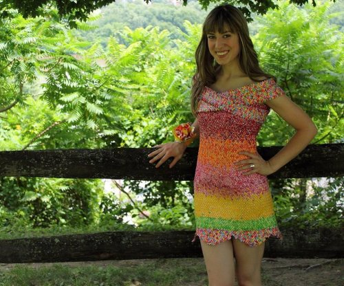 Pennsylvania woman crafts dress out of 10,000 Starburst wrappers