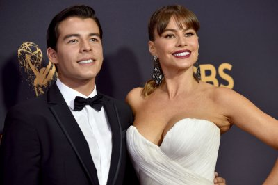 Sofia Vergara, son Manolo all smiles at 2017 Emmy Awards