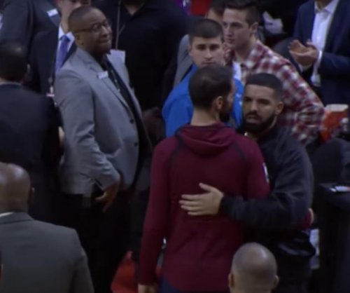Drake gets into it with Kendrick Perkins during Cavs win