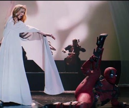 Deadpool dances with Celine Dion onstage in 'Ashes' music video