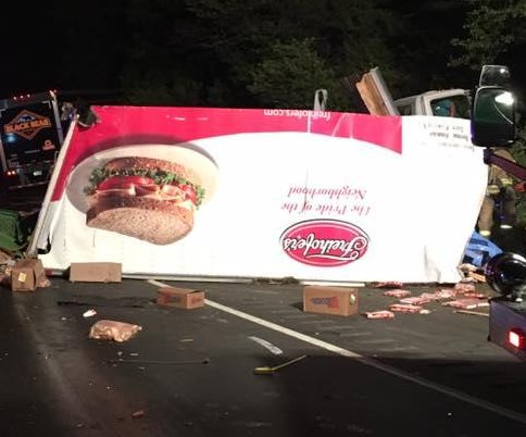 Bread truck and deli truck collide in New Jersey, covering road in sandwich fixings