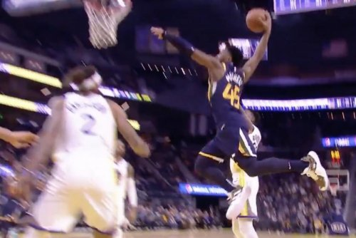 Jazz star Donovan Mitchell soars for one-handed slam on Warriors