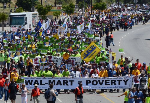 200 protest unfair wages and benefits outside Los Angeles Walmart