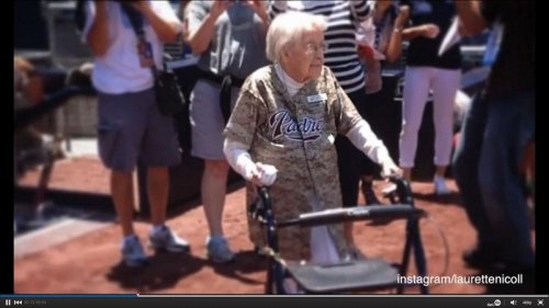 105-year-old woman throws out first pitch at San Diego Padres game