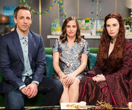 Melisandre of 'Game of Thrones' disrupts Seth Meyers' baby shower on 'Late Night'