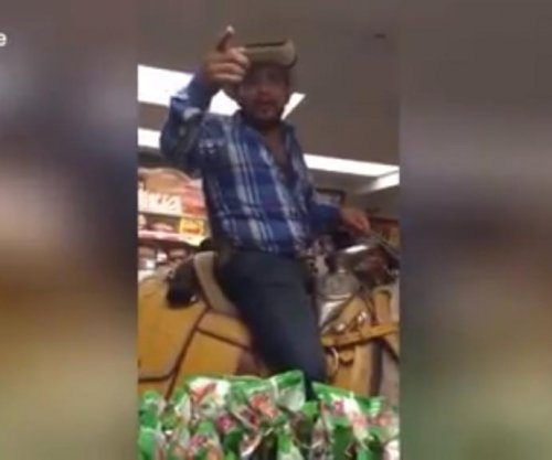 Cowboy rides horse into store to buy beer