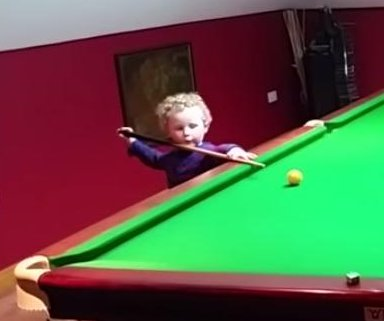 Irish 3-year-old's snooker skills make him a viral star