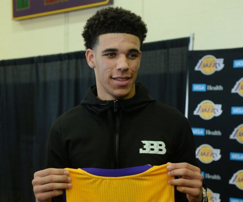 Los Angeles Lakers rookie guard Lonzo Ball sits due to sore groin