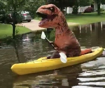 Michigan flooding brings kayaking 'T-Rex' to the streets