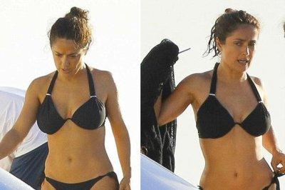 Salma Hayek shows off toned body in black bikini