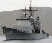 Cruiser USS Vella Gulf returns home to repair fuel oil leak