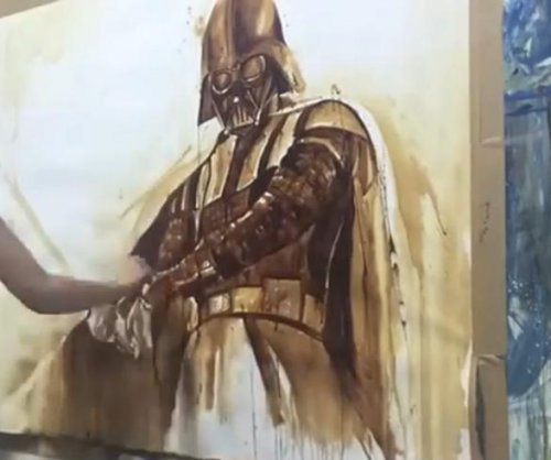 Cyprus artist paints Darth Vader portrait with coffee for Star Wars Day