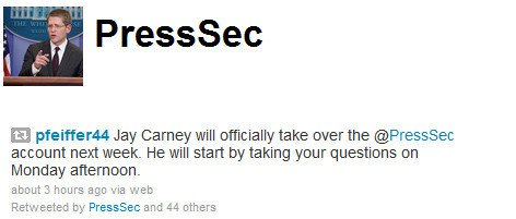 Carney handles @PressSec handle next week