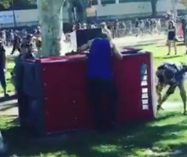 Rams, Seahawks fans team up to rescue man from overturned portable toilet