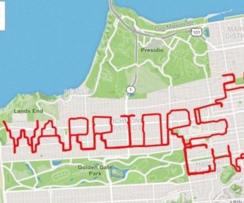 Golden State Warriors: 'JimGump' spells tribute in San Francisco on running app