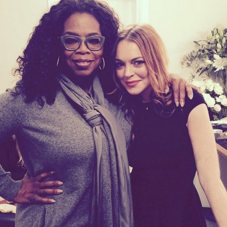 Oprah Winfrey supports Lindsay Lohan at London play