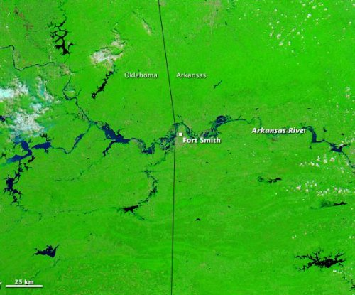 NASA's Aqua satellite images show flooding Arkansas River