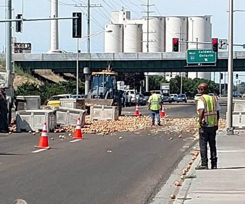 Fallen crates spill onions onto Idaho highway